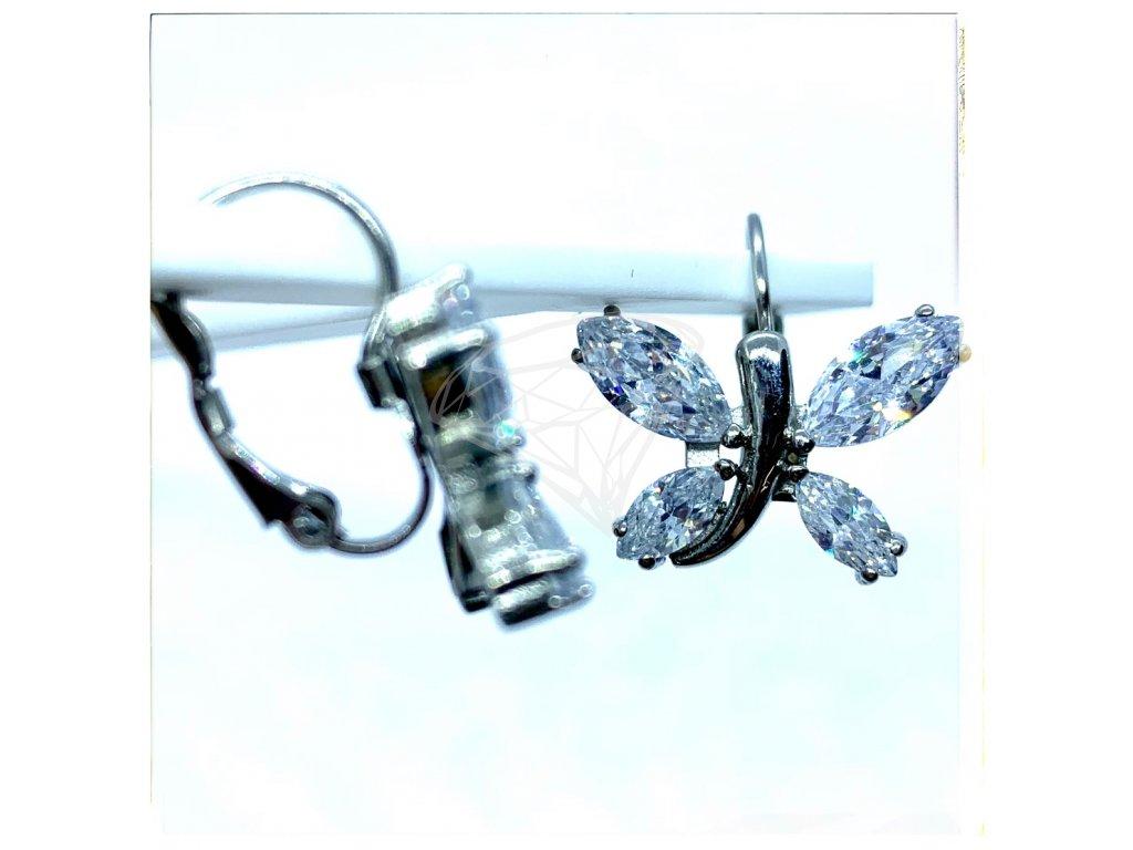(O219) Ocelové dámské náušnice, MOTÝLCI s kamínky, na klapku
