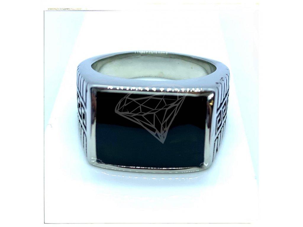 (O106) Ocelový pánský prsten PEČEŤ s řeckým vzorem 2