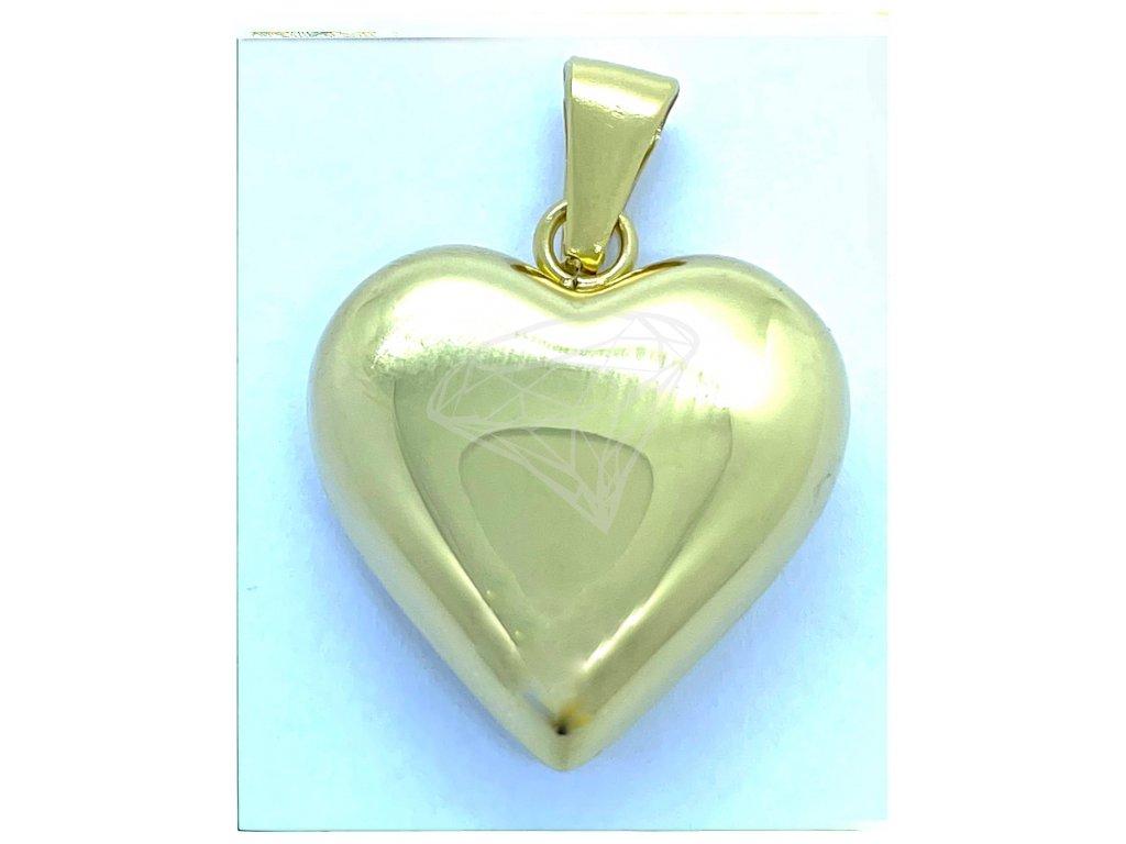 (O3324) Ocelový přívěšek SRDCE lesklé bez kamínků, GOLD/zlatá barva