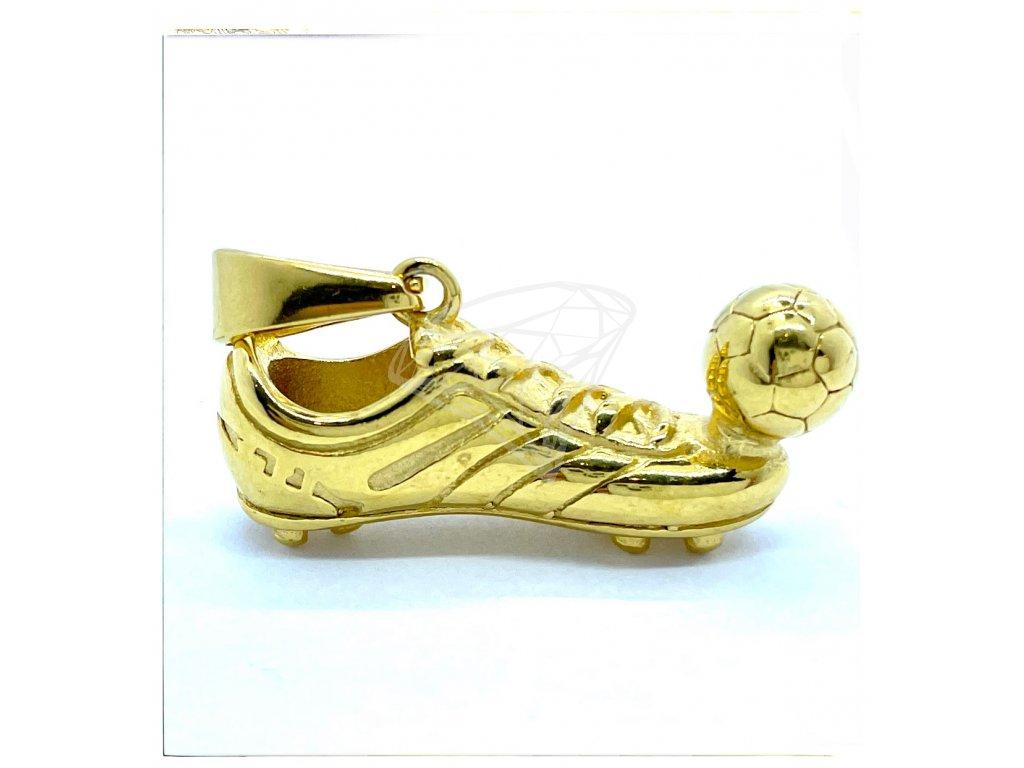 (O3813) Ocelový přívěšek BOTY/KOPAČKA S MÍČEM, GOLD/zlatá barva