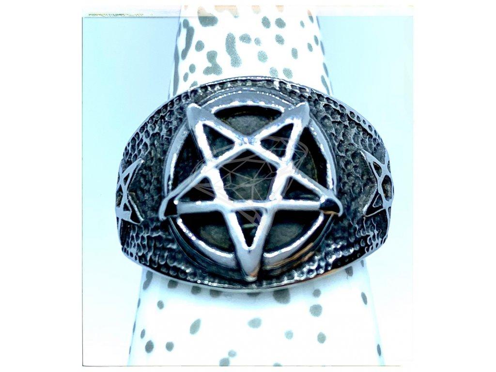 (O109) Ocelový pánský prsten PENTAGRAM