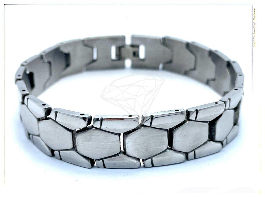 (O909) Ocelový pánský náramek PLOCHÝ