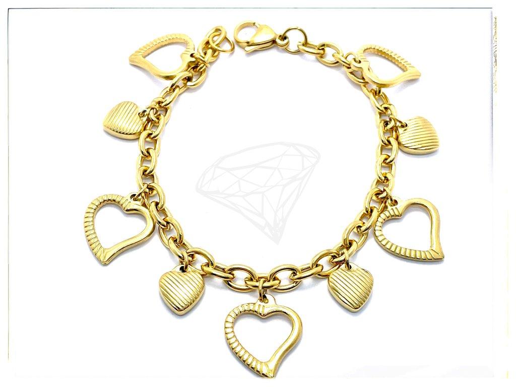 (O655) Ocelový dámský náramek SRDCE visací, GOLD/zlatá barva