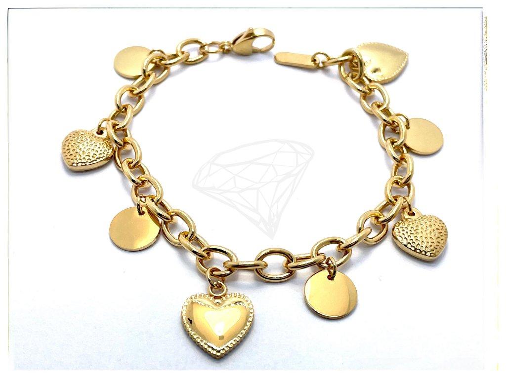 (O656) Ocelový dámský náramek SRDCE visací, GOLD/zlatá barva