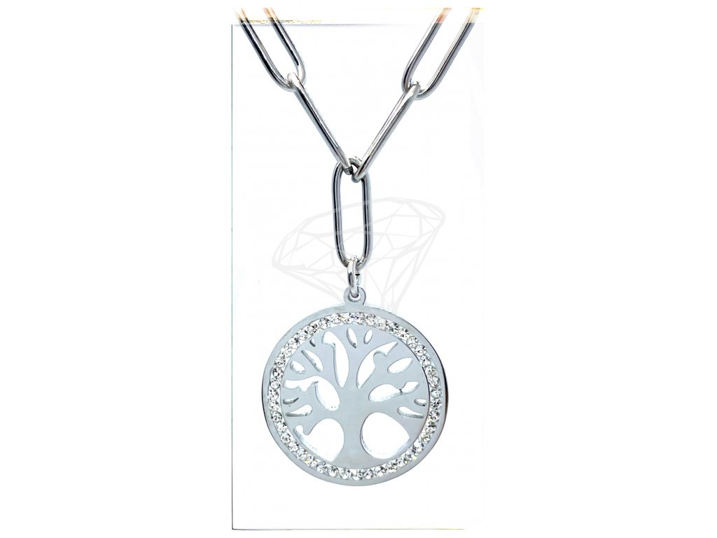(O4021) Ocelový dámský set/náhrdelník STROM ŽIVOTA s kamínky
