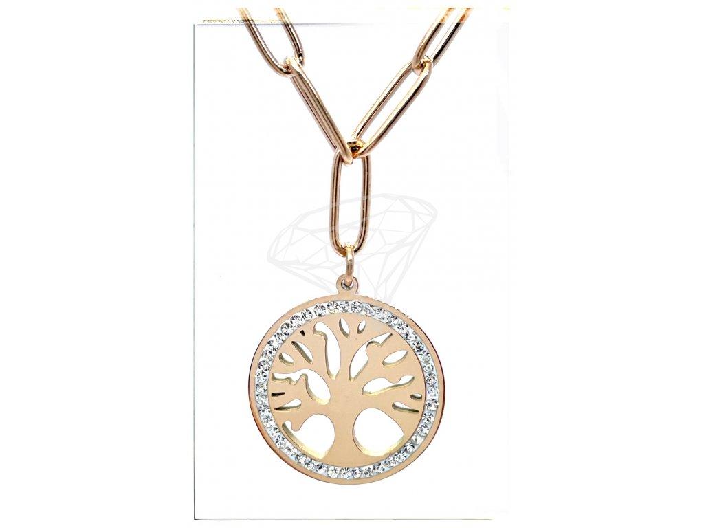 (O4023) Ocelový dámský set/náhrdelník STROM ŽIVOTA s kamínky, ROSE GOLD/růžová barva