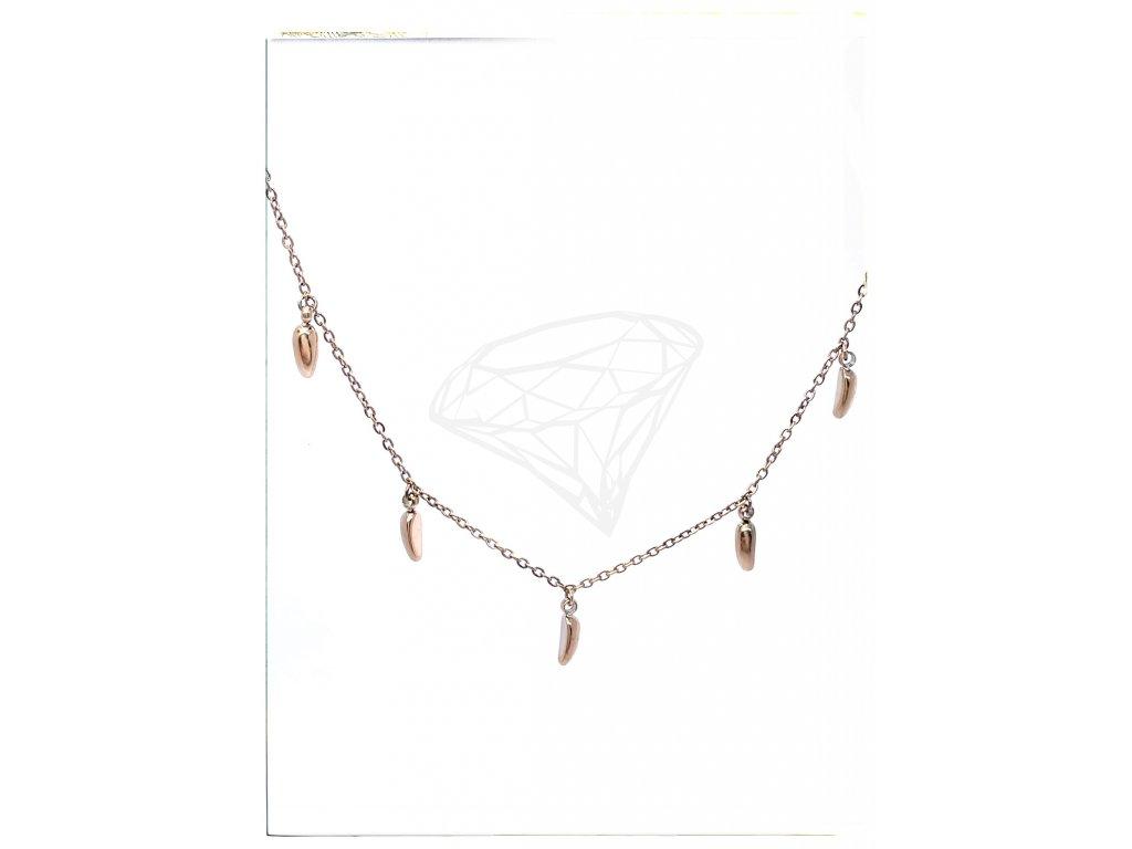 (O4033) Ocelový dámský set/náhrdelník ZRNKA, ROSE GOLD/růžová barva