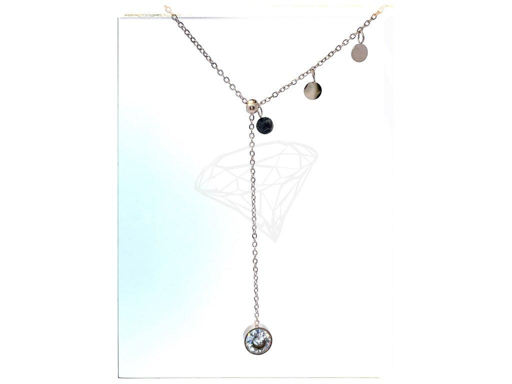 (O4036) Ocelový dámský set/náhrdelník s kamínkem, ROSE GOLD/růžová barva