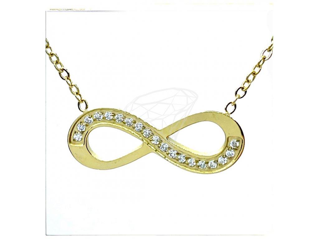 (O4038) Ocelový dámský set/náhrdelník NEKONEČNO s kamínky, GOLD/zlatá barva