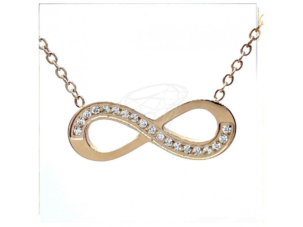 (O4039) Ocelový dámský set/náhrdelník NEKONEČNO s kamínky, ROSE GOLD/růžová barva