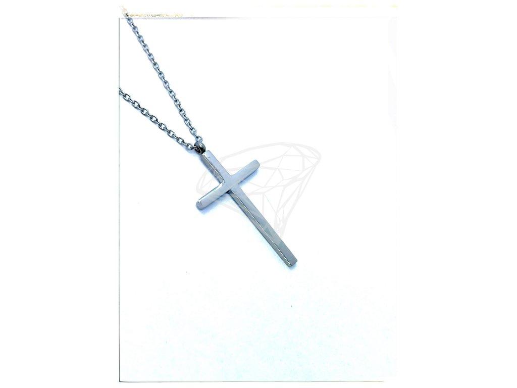 (O4043) Ocelový dámský set/náhrdelník KŘÍŽEK bez kamínků