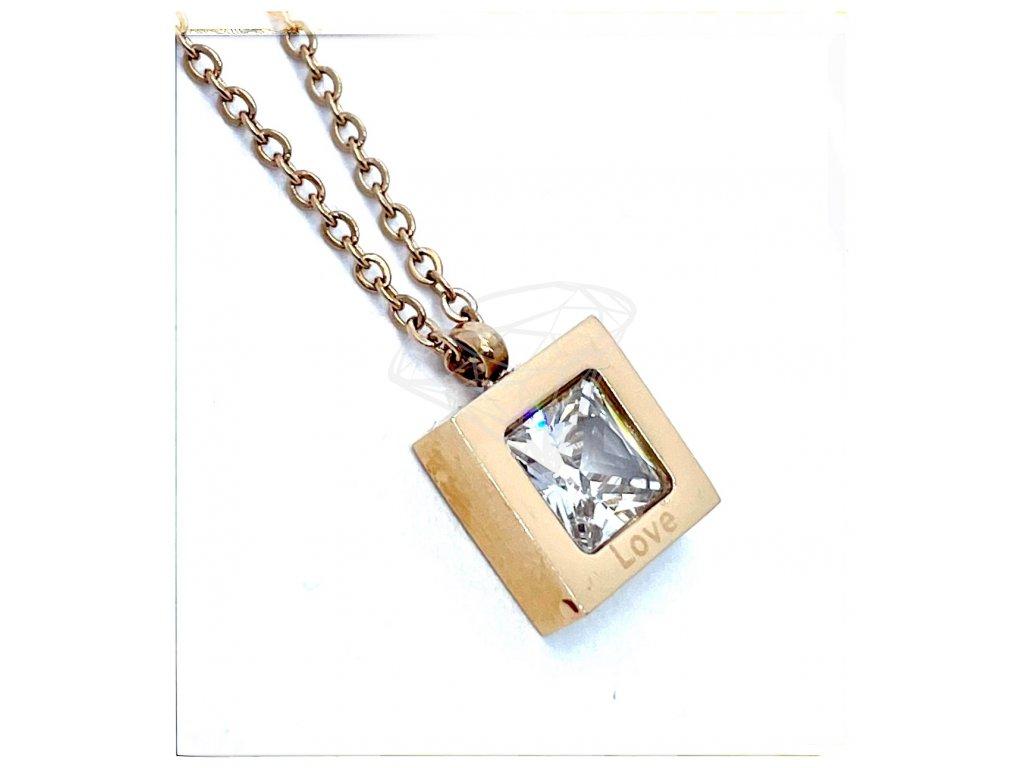 (O4047) Ocelový dámský set/náhrdelník ČTVEREC s kamínkem, ROSE GOLD/růžová barva
