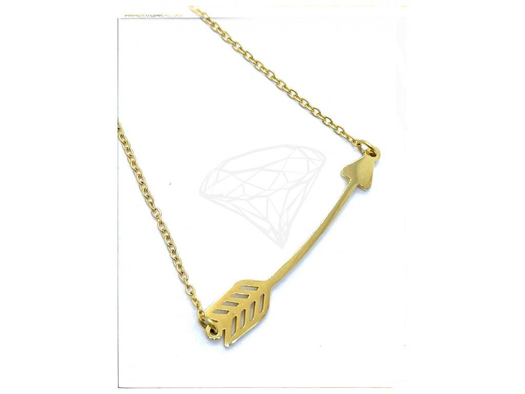 (O4049) Ocelový dámský set/náhrdelník ŠÍP, GOLD/zlatá barva