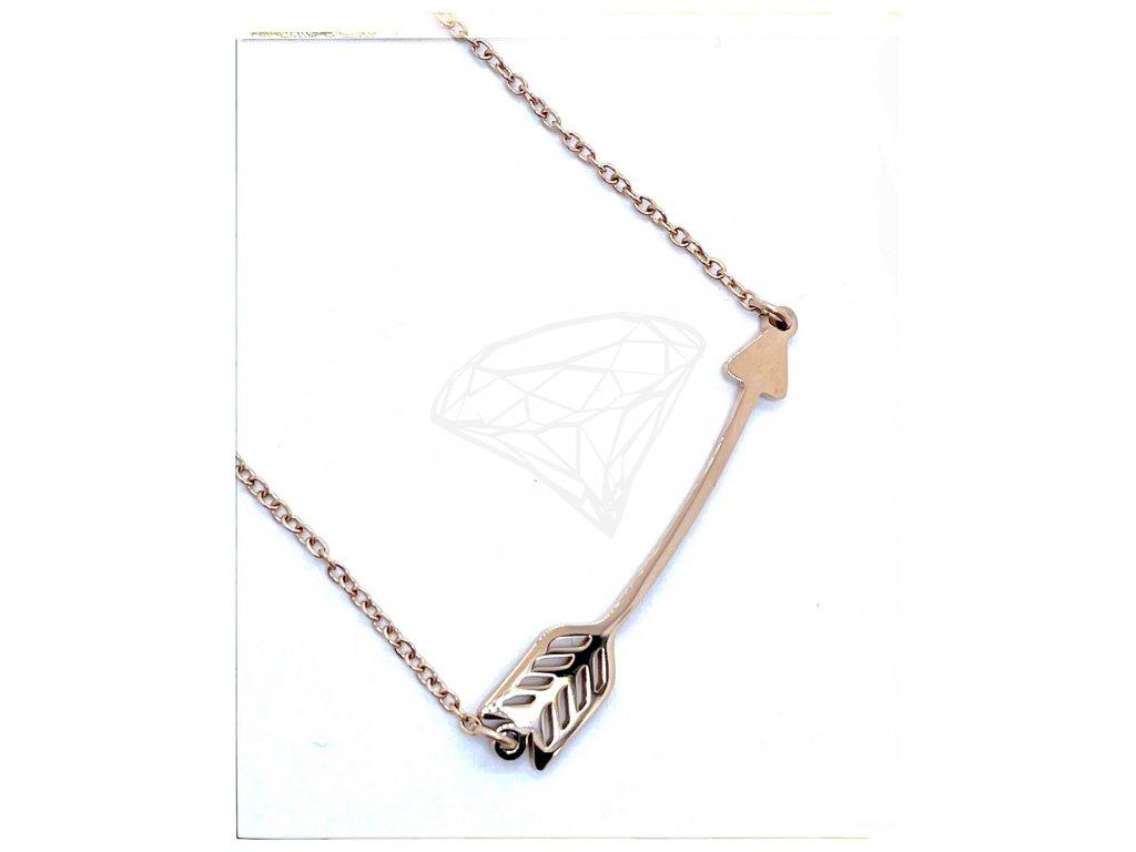 (O4050) Ocelový dámský set/náhrdelník ŠÍP, ROSE GOLD/růžová barva