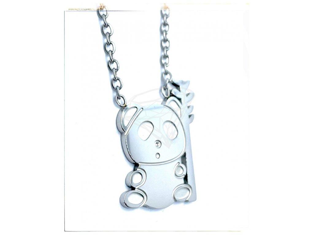 (O4053) Ocelový dámský set/náhrdelník MEDVÍDEK PANDA