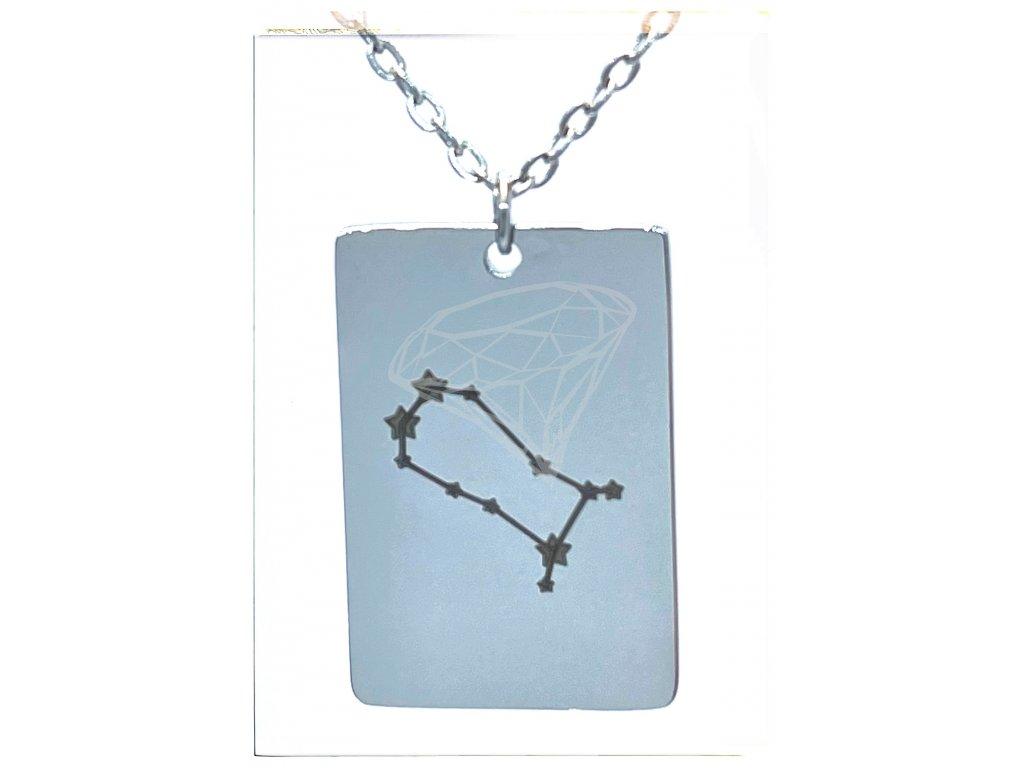 (O3051) Ocelový přívěsek ZNAMENÍ ZVĚROKRUHU, SOUHVĚZDÍ / BLÍŽENEC s řetízkem