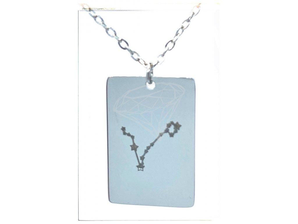 (O3060) Ocelový přívěsek ZNAMENÍ ZVĚROKRUHU, SOUHVĚZDÍ / RYBY s řetízkem