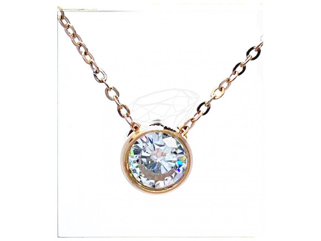 (O4062) Ocelový dámský set/náhrdelník s kamínkem, ROSE GOLD/růžová barva