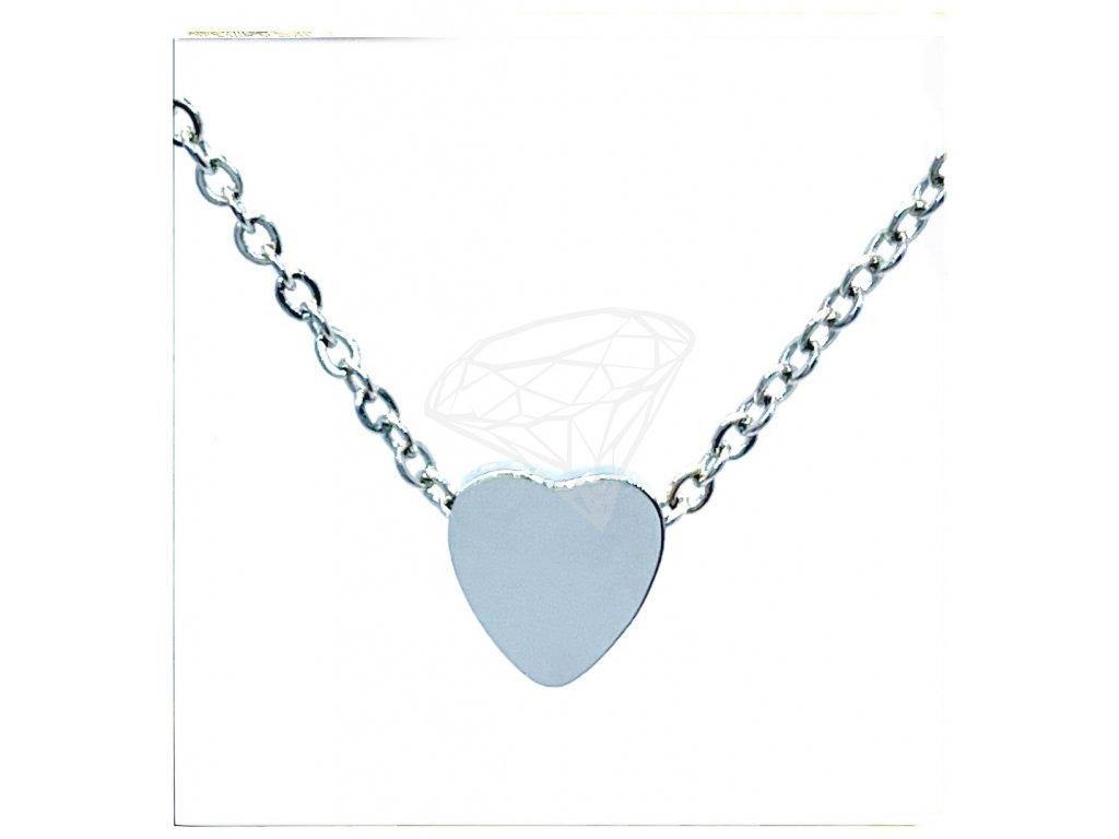 (O4063) Ocelový dámský set/náhrdelník SRDCE lesklé bez kamínků
