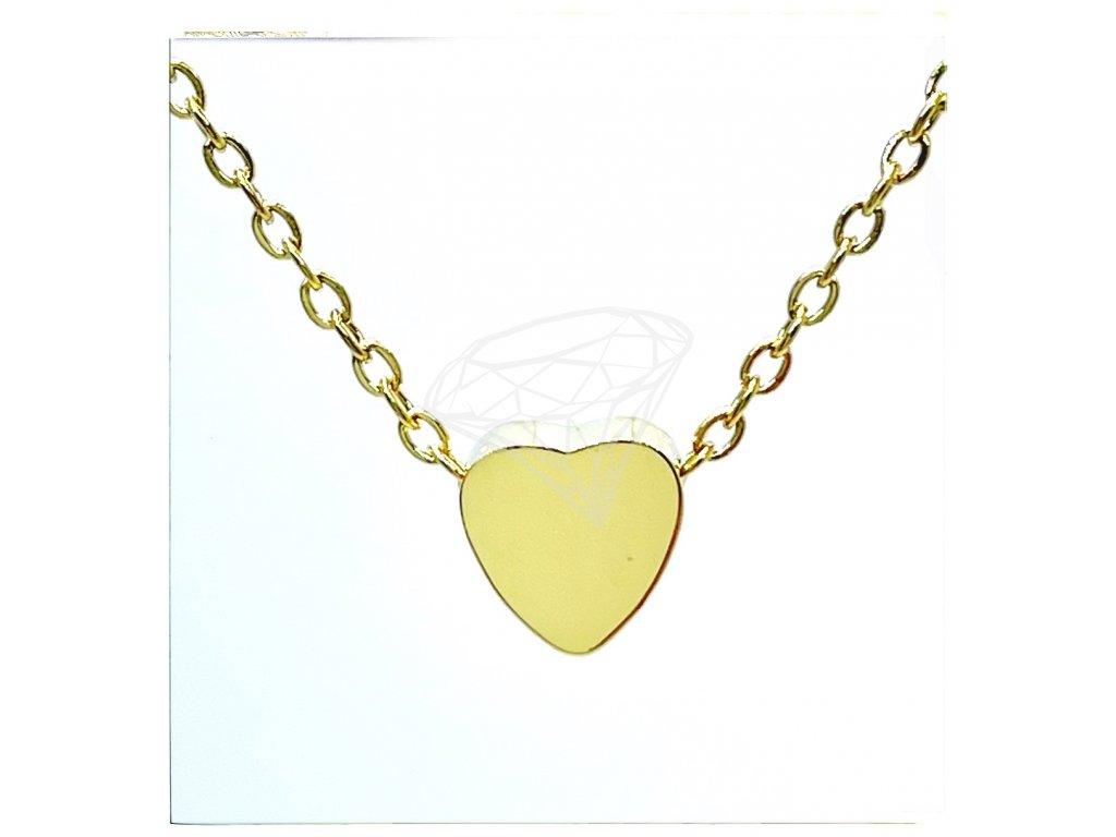 (O4064) Ocelový dámský set/náhrdelník SRDCE lesklé bez kamínků, GOLD/zlatá barva