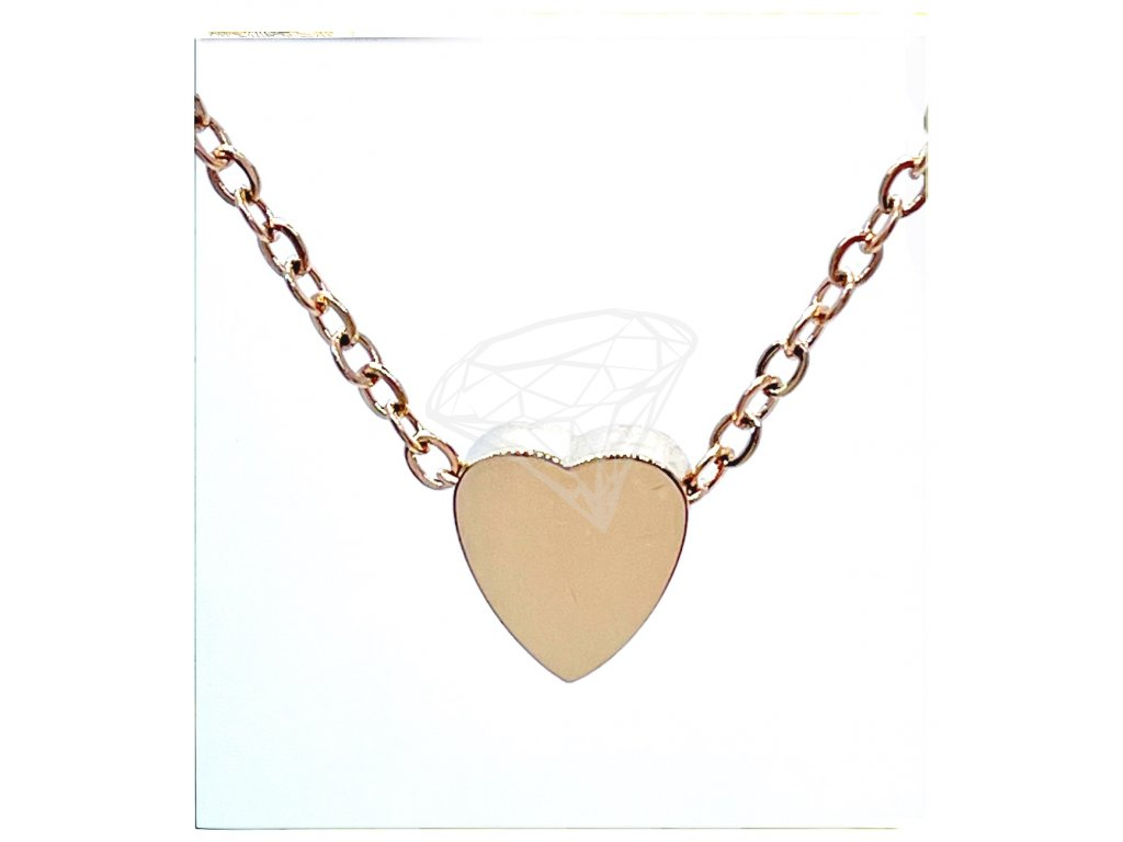 (O4065) Ocelový dámský set/náhrdelník SRDCE lesklé bez kamínků, ROSE GOLD/růžová barva