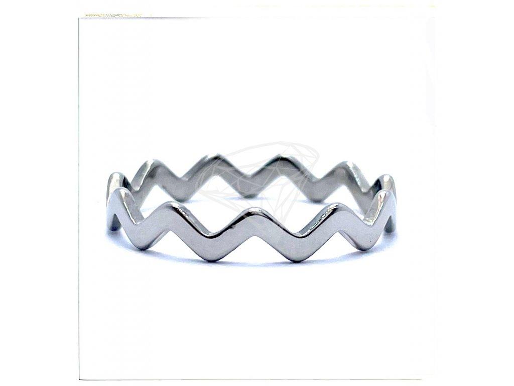 (O157) Ocelový dámský prsten VLNKA bez kamínků
