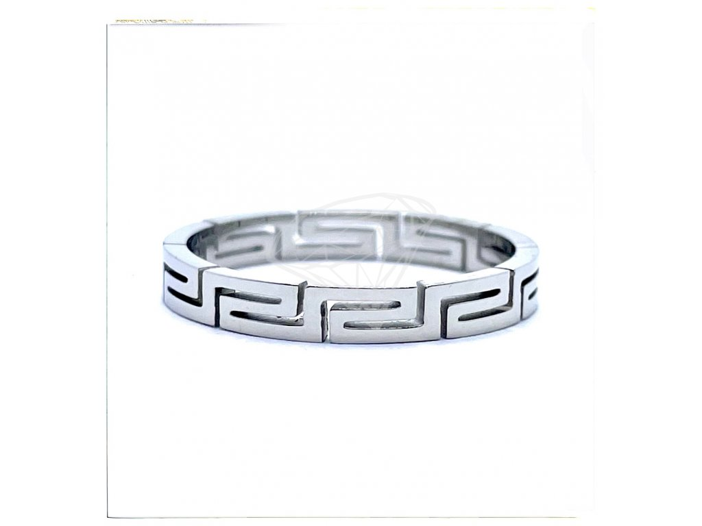 (O158) Ocelový prsten s ŘECKÝM VZOREM bez kamínků