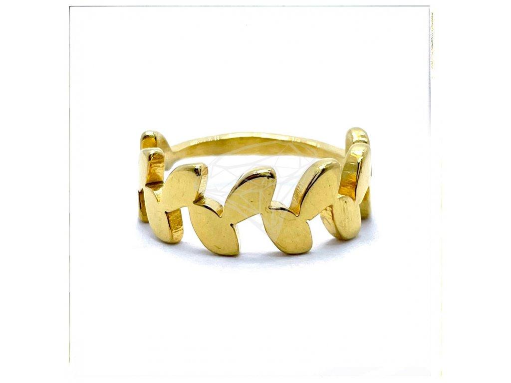 (O161) Ocelový dámský prsten LISTY, GOLD/zlatá barva