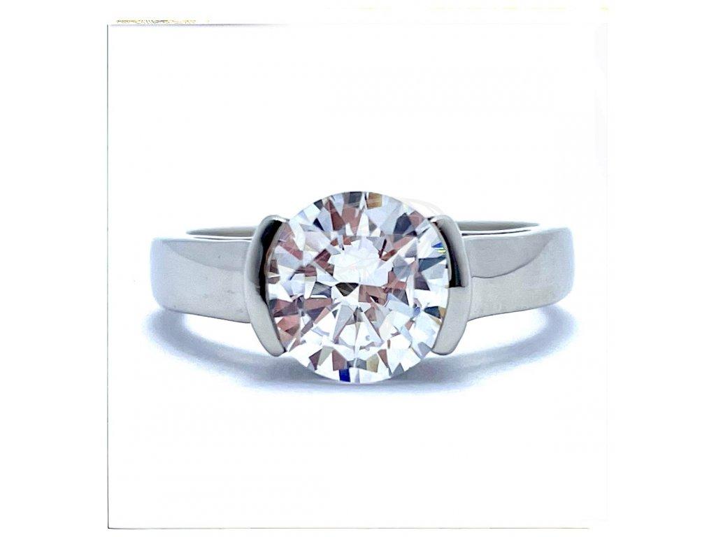 (O181) Ocelový dámský prsten s kamínkem