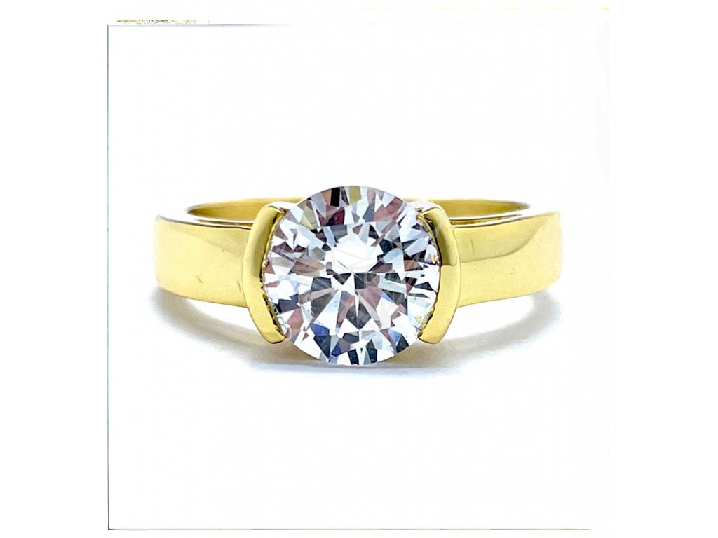 (O182) Ocelový dámský prsten s kamínkem, GOLD/zlatá barva