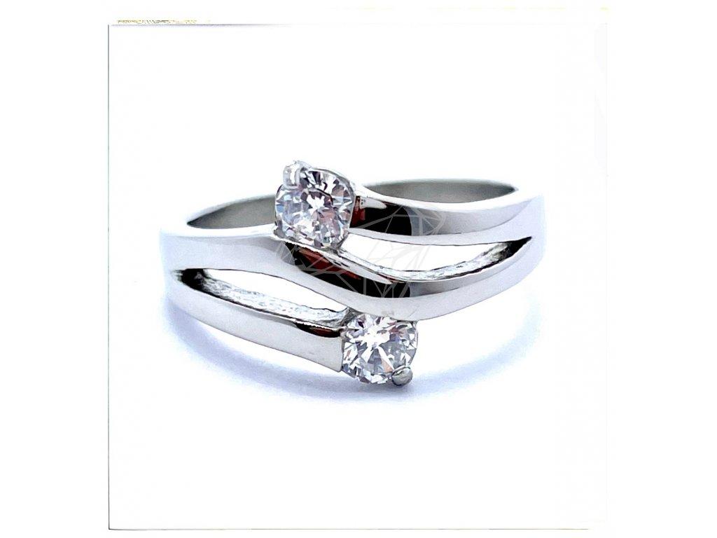 (O184) Ocelový dámský prsten s dvěma kamínky