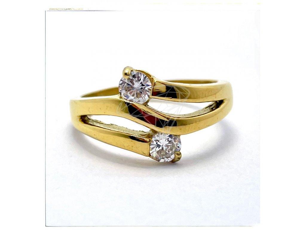 (O185) Ocelový dámský prsten s dvěma kamínky, GOLD/zlatá barva