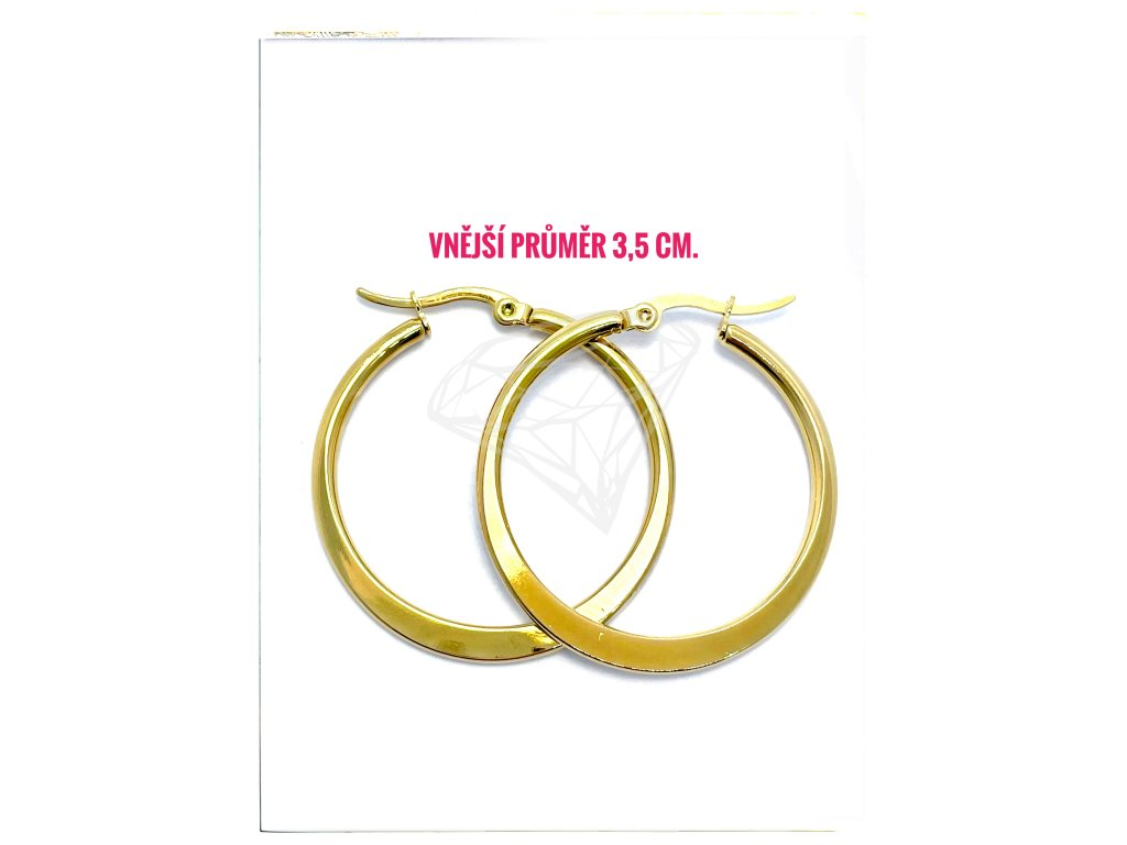 (O5293) Ocelové náušnice KRUHY PLOCHÉ Ø 35 MM, GOLD/zlatá barva