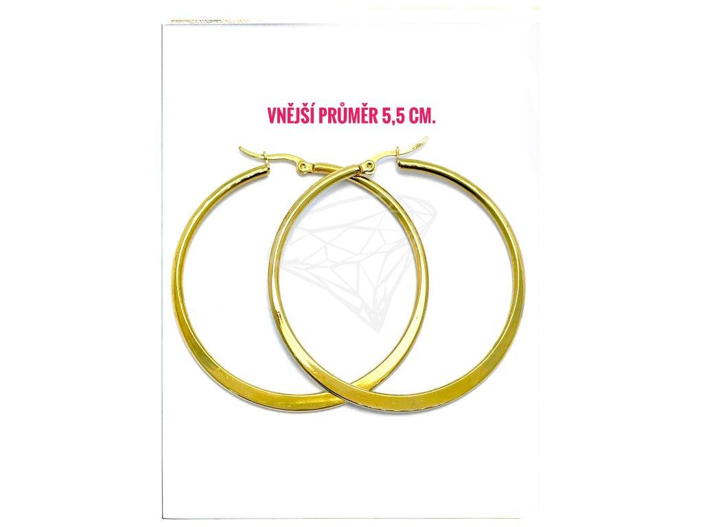 (O5296) Ocelové náušnice KRUHY PLOCHÉ Ø 55 MM, GOLD/zlatá barva