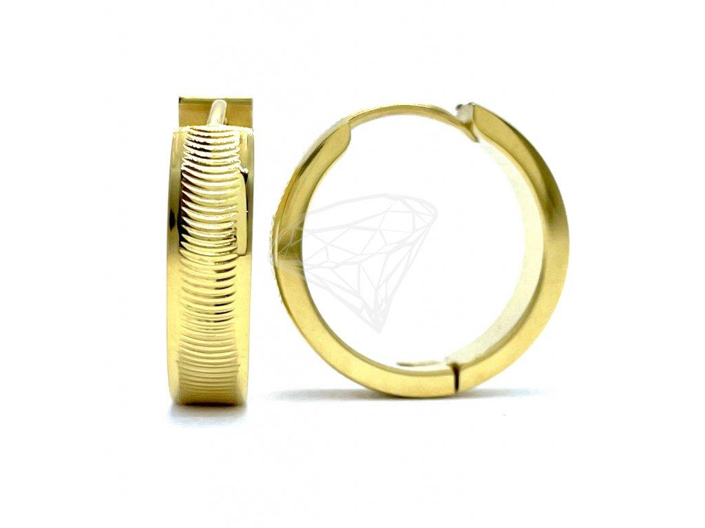 (O5223) Ocelové náušnice KRUHY gravírované GOLD/zlatá barva