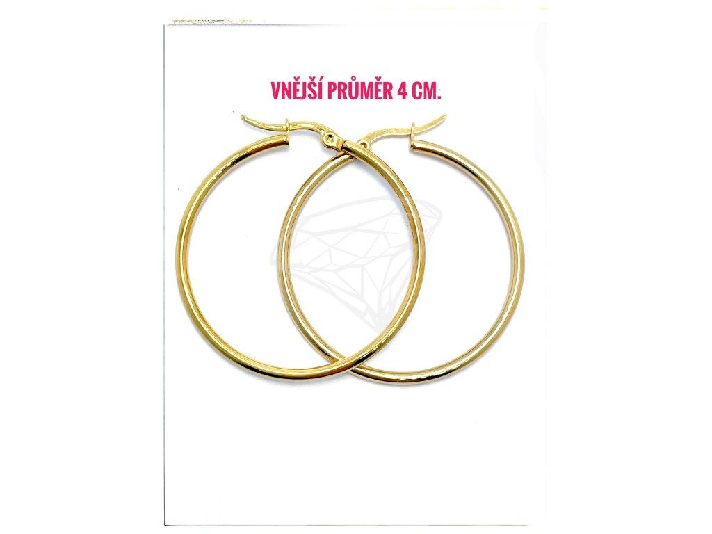 (O5311) Ocelové náušnice KRUHY Ø 40 MM, GOLD/zlatá barva