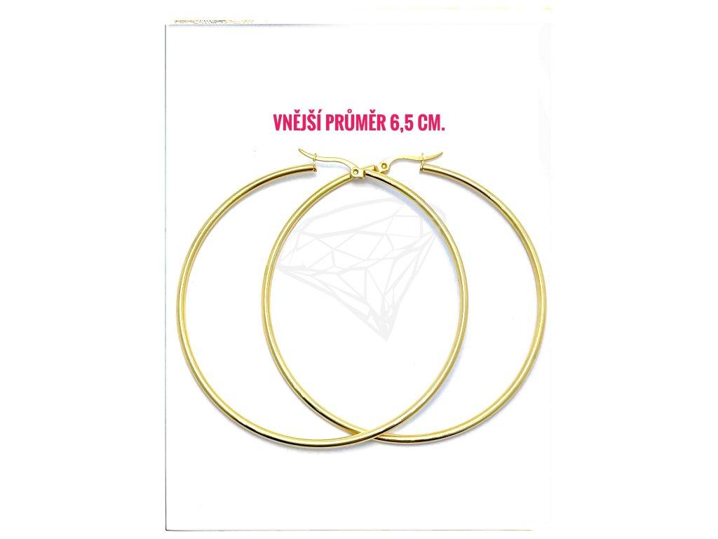 (O5315) Ocelové náušnice KRUHY Ø 65 MM, GOLD/zlatá barva