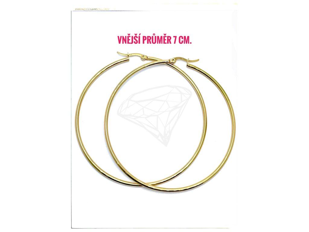 (O5316) Ocelové náušnice KRUHY Ø 70 MM, GOLD/zlatá barva