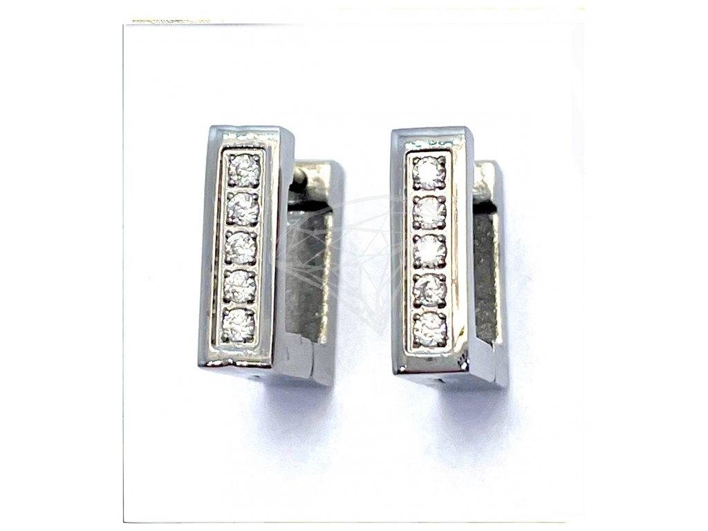 (O5102) Ocelové náušnice KROUŽKY s kamínky