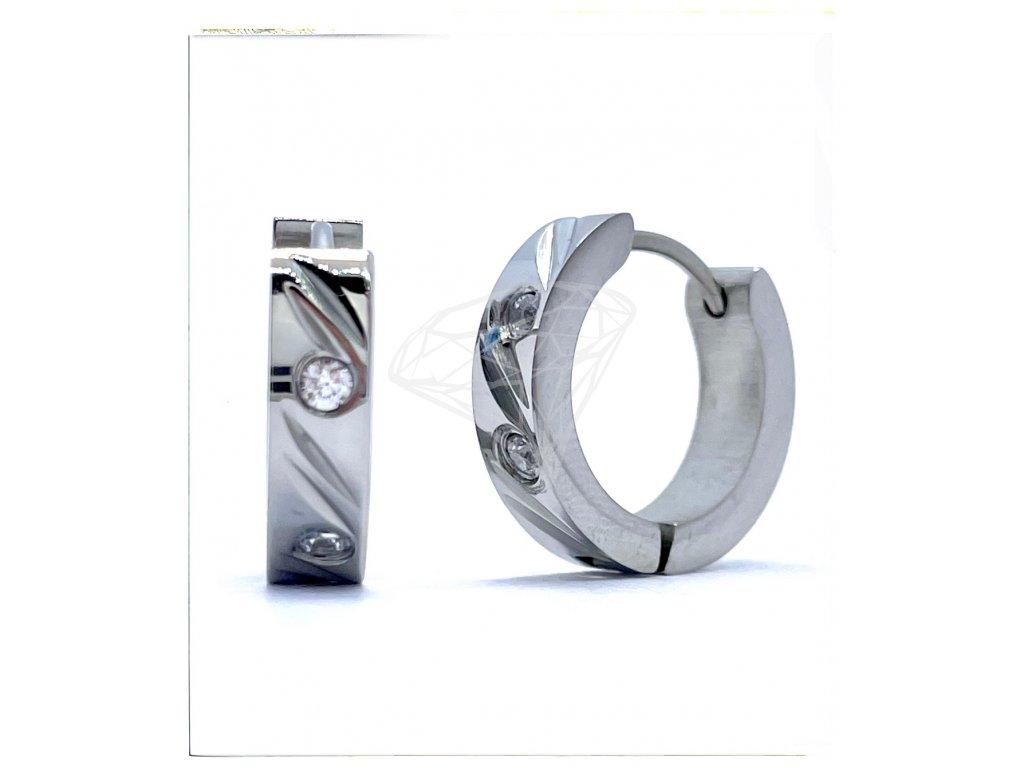 (O5104) Ocelové náušnice KROUŽKY s kamínky Ø 16 MM