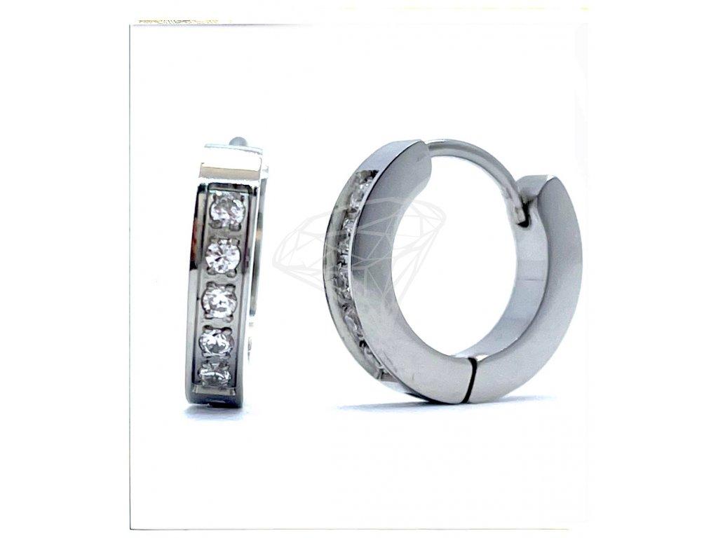 (O5106) Ocelové náušnice KROUŽKY s kamínky