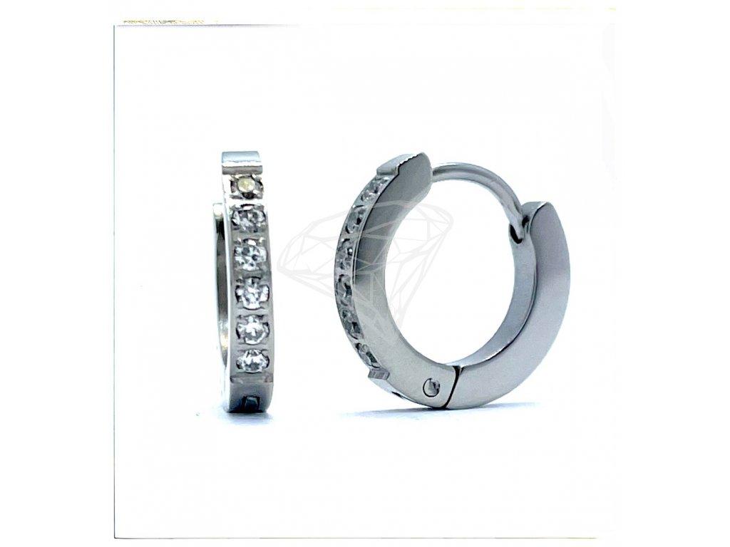 (O5107) Ocelové náušnice KROUŽKY s kamínky