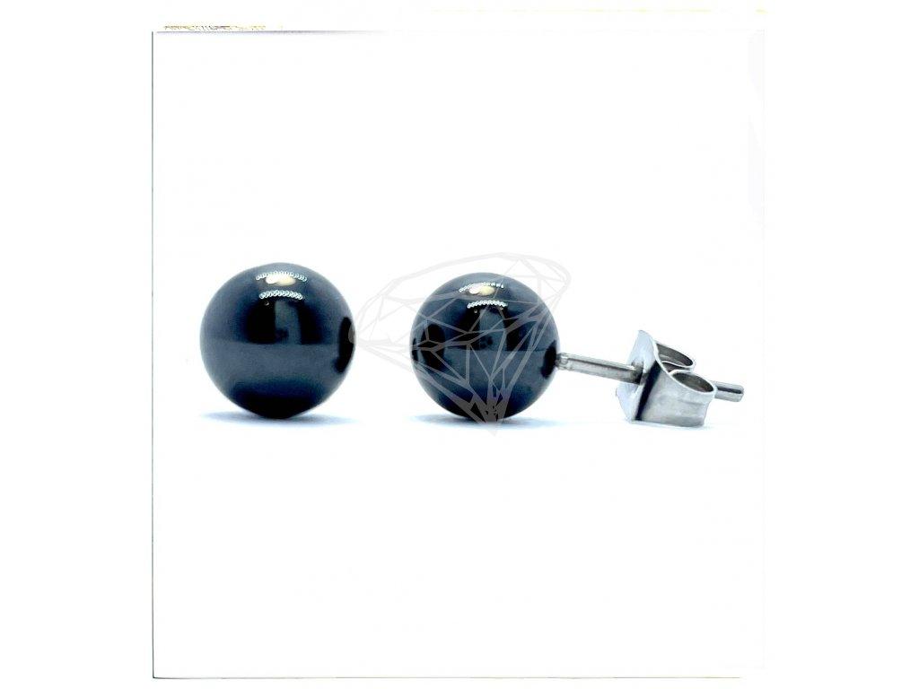 (O2135) Ocelové náušnice na puzetu, KULIČKY z ČERNÉ KERAMIKY 8 MM