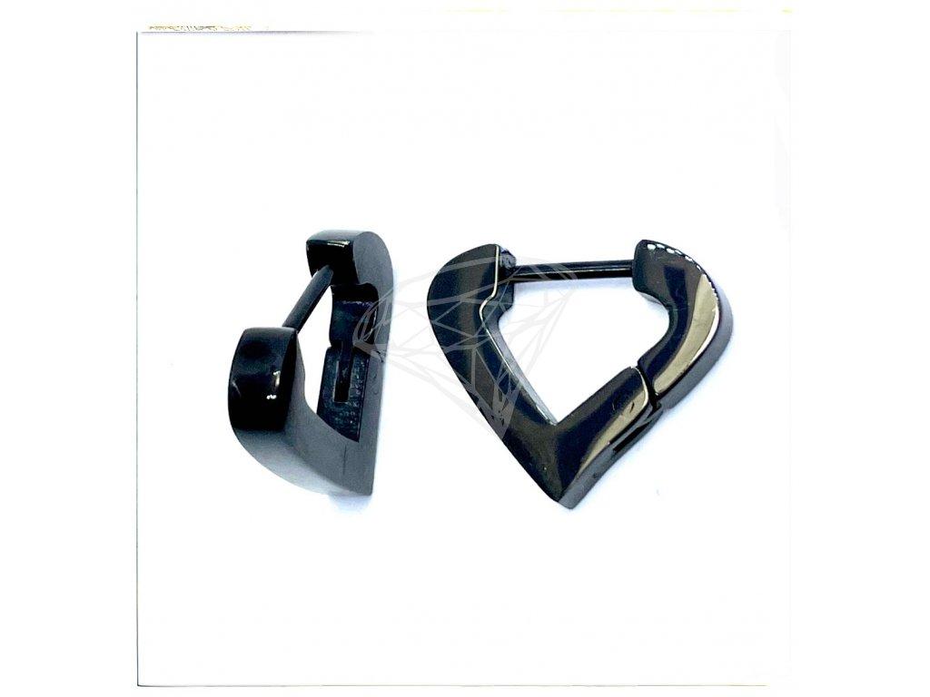 (O5334) Ocelové náušnice KROUŽKY, TROJÚHELNÍK bez kamínků, BLACK/černá barva