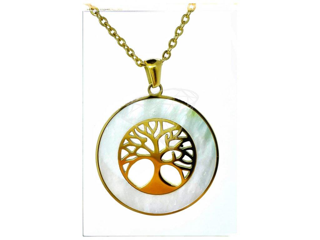 (O4067) Ocelový dámský set/náhrdelník STROM ŽIVOTA s PERLETÍ, GOLD/zlatá barva
