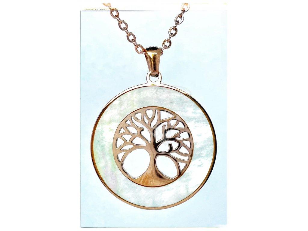 (O4068) Ocelový dámský set/náhrdelník STROM ŽIVOTA s PERLETÍ, ROSE GOLD/růžová barva