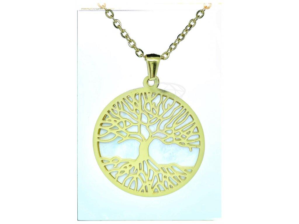(O4070) Ocelový dámský set/náhrdelník STROM ŽIVOTA s PERLETÍ, GOLD/zlatá barva