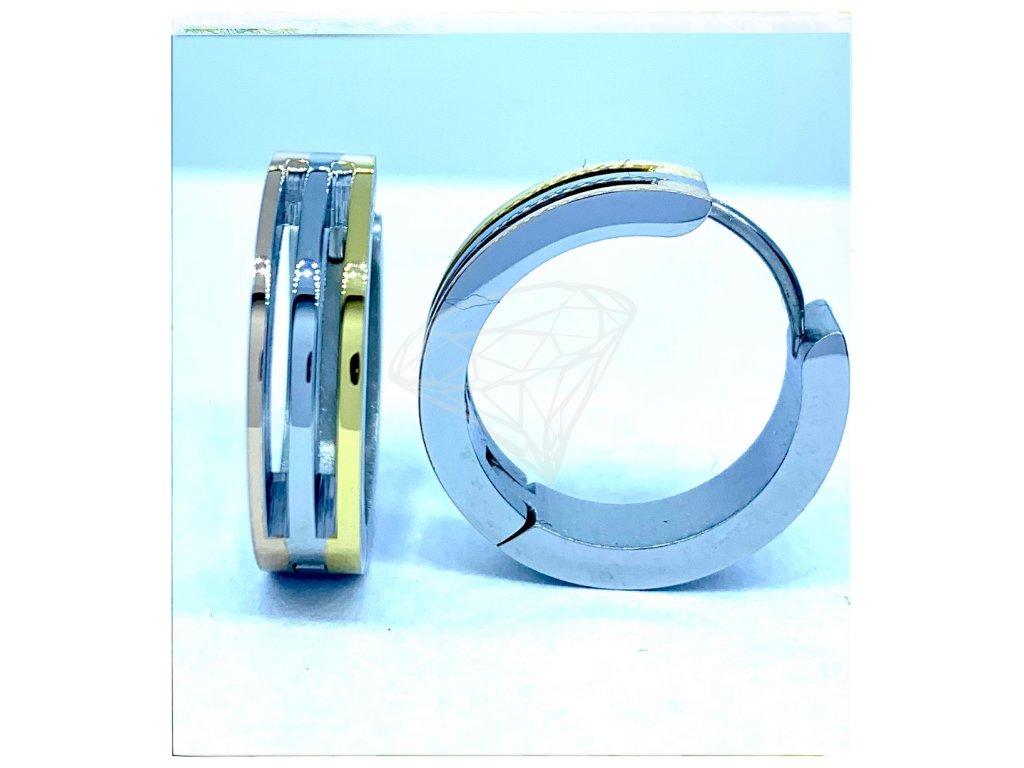 (O5227) Ocelové náušnice KRUHY kombinace GOLD/zlatá a ROSE/růžová.