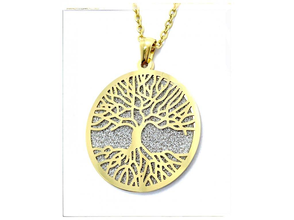 (O4073) Ocelový dámský set/náhrdelník STROM ŽIVOTA, GOLD/zlatá barva