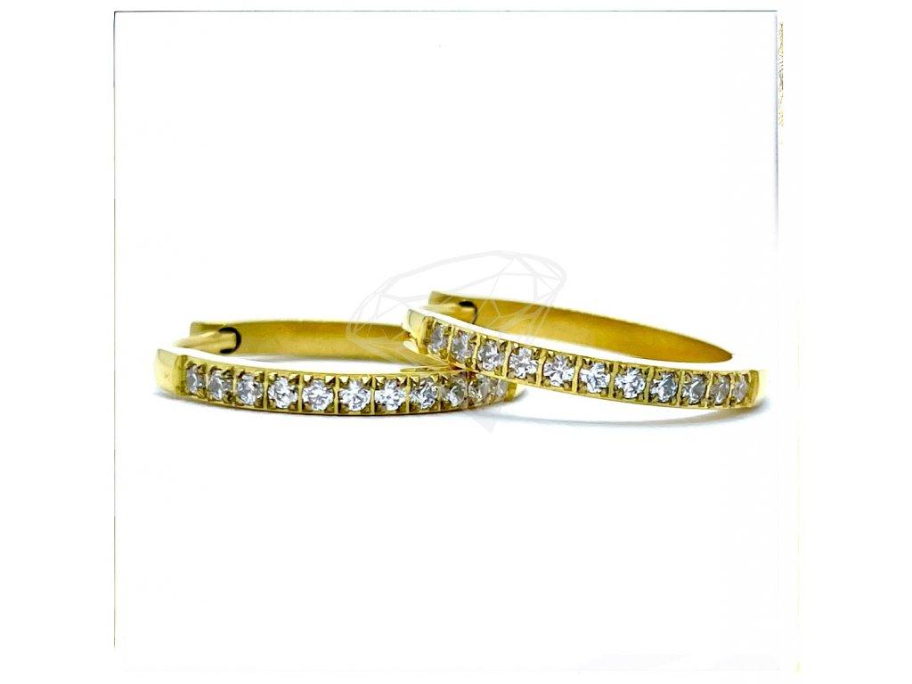 (O5254) Ocelové náušnice KROUŽKY s kamínky Ø 20 MM, GOLD/zlatá barva